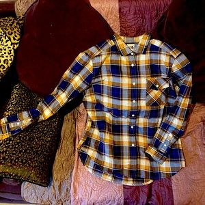 NWT North Face Mustard/Electric Blue Flannel szM